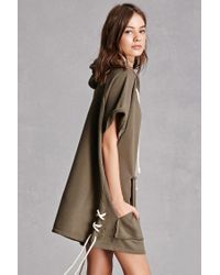 Forever 21 Green Distressed Hoodie Dress
