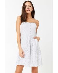 Forever 21 - White Lace Mini Tube Dress - Lyst