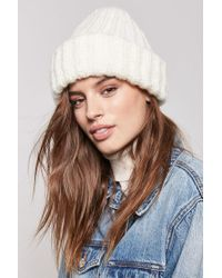 Forever 21 - Natural Ribbed Foldover Beanie - Lyst