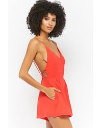 Forever 21 - Red Open-back Romper - Lyst