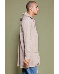 Forever 21 - Natural 's Longline Raw-cut Hoodie for Men - Lyst