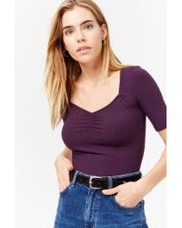 Forever 21 - Purple Ruched Ribbed Tee - Lyst