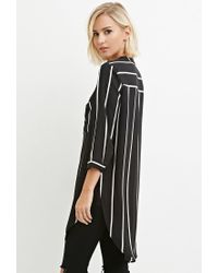 Forever 21 - Black High-slit Striped Shirt - Lyst