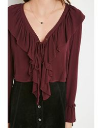 Forever 21 - Purple Ruffled Lace-up Top - Lyst