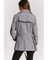 Forever 21 - Black Women's Gingham Double-breasted Trench Coat - Lyst
