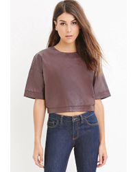 Forever 21 - Purple Faux Leather Boxy Top - Lyst