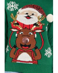Forever 21 - Green Reindeer & Santa Graphic Sweater - Lyst