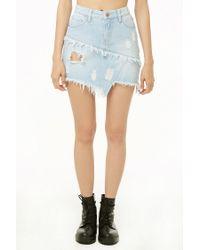 Forever 21 - Blue Reworked Denim Mini Skirt - Lyst