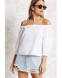 145245bfb494bb Forever 21 Poplin Off-the-shoulder Top in White - Lyst