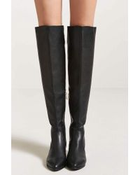 Forever 21 - Black Faux Leather Over-the-knee Boots - Lyst