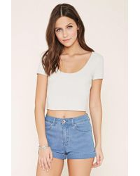 Forever 21 | White Lace-up Crop Top | Lyst