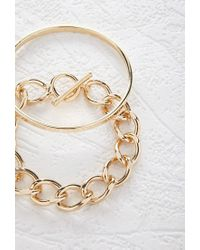 Forever 21 - Metallic Chained Bangle Set - Lyst