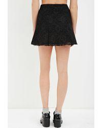 Forever 21 - Black Floral Lace Skater Skirt - Lyst
