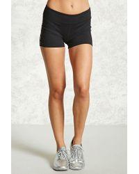 Forever 21 - Black Women's Active Flex Cutout Shorts - Lyst