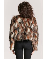 Forever 21 - Brown Multicolored Faux Fur Coat - Lyst