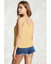 Forever 21 - Yellow Chiffon V-neck Cami - Lyst