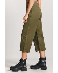 Forever 21 - Green Cropped Wide-leg Chino Pants - Lyst