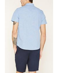 Forever 21 - Blue Two-tone Pocket Shirt for Men - Lyst