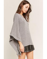Forever 21 Gray Heathered Cape Sleeve Tunic
