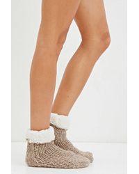 Forever 21 - Natural Knit Slipper Socks - Lyst