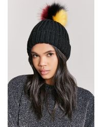 Forever 21 - Black Ribbed Multicolor Pom Pom Beanie - Lyst