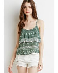 Forever 21 - Green Geo Print Flounce Cami - Lyst