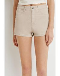 Forever 21 - Brown Zippered Denim Shorts - Lyst