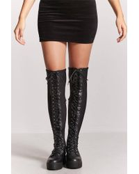 Forever 21 - Black Combat Over-the-knee Boots - Lyst