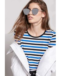 Forever 21 - Metallic Mirrored Cat-eye Sunglasses - Lyst