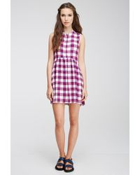 Forever 21 - Purple Check Buttoned Dress - Lyst