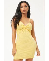 Forever 21 - Yellow Slub Knit Twist-front Mini Dress - Lyst