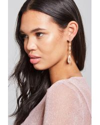 Forever 21 - Metallic Floral Pave Drop Earrings - Lyst