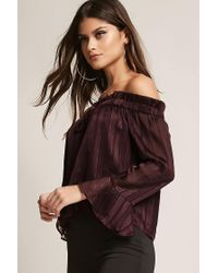 Forever 21 | Multicolor Off-the-shoulder Shadow Stripe Top | Lyst