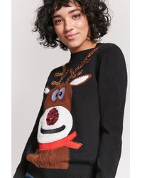 Forever 21 | Black Reindeer Graphic Sweater | Lyst