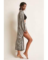 Forever 21 - Multicolor Leopard Print Satin Kimono - Lyst