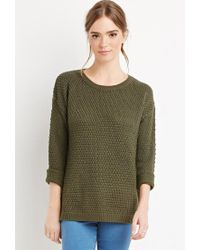 Forever 21 - Green Textured Knit Sweater - Lyst