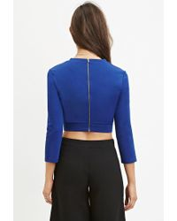 Forever 21 - Blue Cutout Crop Top - Lyst