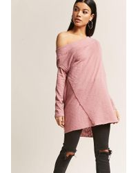Forever 21 - Pink Raw-cut Boat Neck Top - Lyst