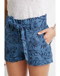 Forever 21 - Blue Belted Leaf Print Shorts - Lyst