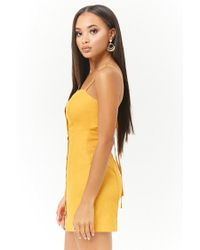 Forever 21 - Yellow Linen-blend Mini Dress - Lyst