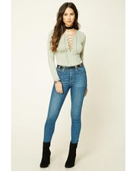 Forever 21 - Multicolor Long-sleeve Lace-up Top - Lyst