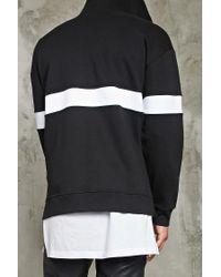 Forever 21   Black Stripe Fleece Hoodie for Men   Lyst