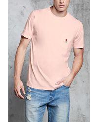 Forever 21 - Pink Embroidered Rose Pocket Tee for Men - Lyst