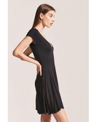 Forever 21 - Black V-neck Swing Dress - Lyst