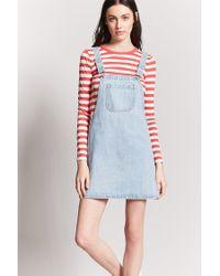 Forever 21 Blue Denim Overall Mini Dress