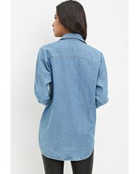 Forever 21 - Blue Distressed Denim Shirt - Lyst
