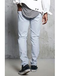 Forever 21 - Gray Slim-fit Ripped-knee Jeans for Men - Lyst