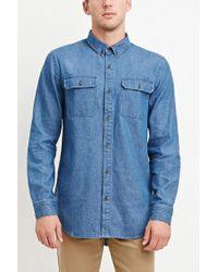 Forever 21 | Blue Two-pocket Denim Shirt for Men | Lyst