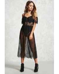Forever 21 - Black Eyelash Lace Maxi Dress - Lyst