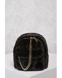 Lyst - Forever 21 Faux Fur   Chain Mini Backpack in Black 0494b6fecc309